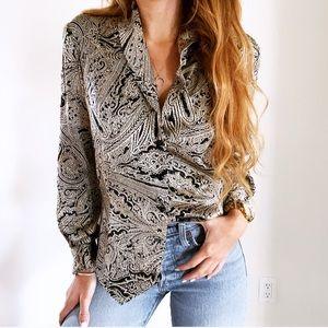 Vintage 100% Silk Dana Buchman Paisley Blazer Top